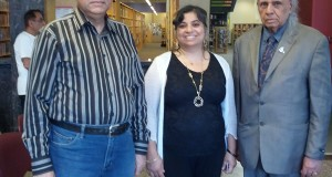 Stephen Gill with Monika Spolia and Abid at the Cornwall Library