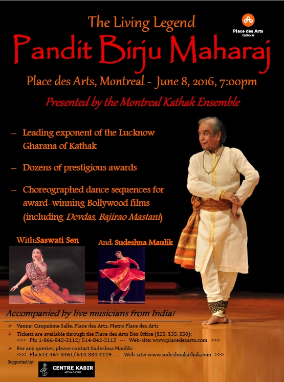 Birju Maharaj, renowned Kathak dancer, in Montreal on June 8, 2016 with Sudeshna Maulik, his desciple