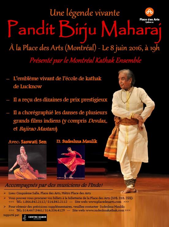 Birju Maharaj, célèbre danseuse Kathak, à Montréal le 8 Juin 2016, avec Sudeshna Maulik, son disciple