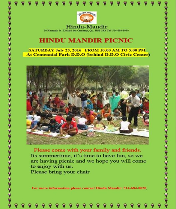 Hindu Mandir Picnic on Saturday, July 23, 2016