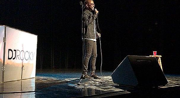 Dixit Patel On Stage performing stand-up comedy