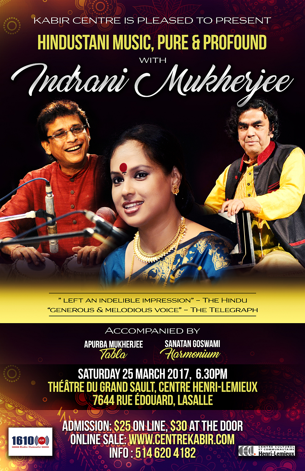 Hindustani Music, Pure & Profound, with Indrani Mukherjee on March 25, 2017
