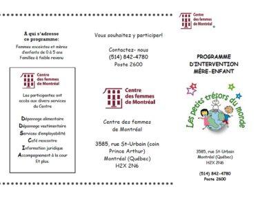 Les Petits Tresors du Monde - Programme Enfant Mere in ParcEx, Montreal
