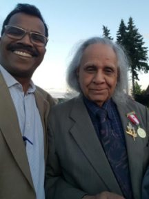 Pastor Arun with Stephen Gill honored at Canada's 150th Anniversary