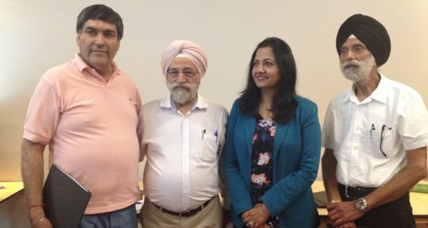 MP Sonia Sidhu on Healthy Eating and Diabetes with Subhash Khanna (left) and other community leaders
