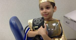 Sarv Nathan, Little Angels' Prince, after his 'Cut For Cancer'