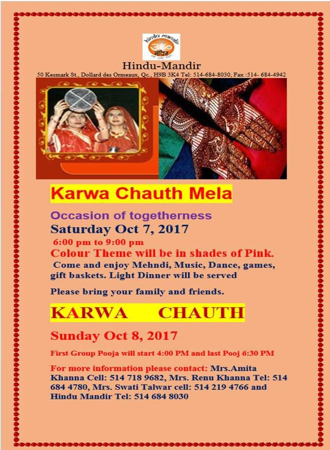 Karwachauth at Hindu Mandir (DDO) on October 7, 2017