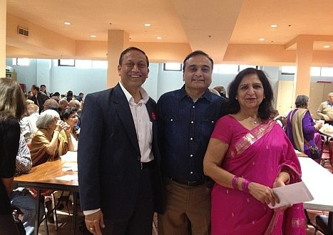 Pulkit Kantawala, city councilor for DDO District 7, with DilipShah and Anju Sharma at Hindu Mandir DDO on Nov 12, 2017