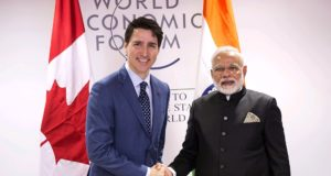 Prime Minister Justin Trudeau meets with Indian Prime Minister Narendra Modi on Tuesday, Jan. 23, 2018, in Davos, Switzerland at the World Economic Forum.