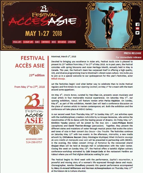 Festival Acces Asie 2018 - accesasie.com