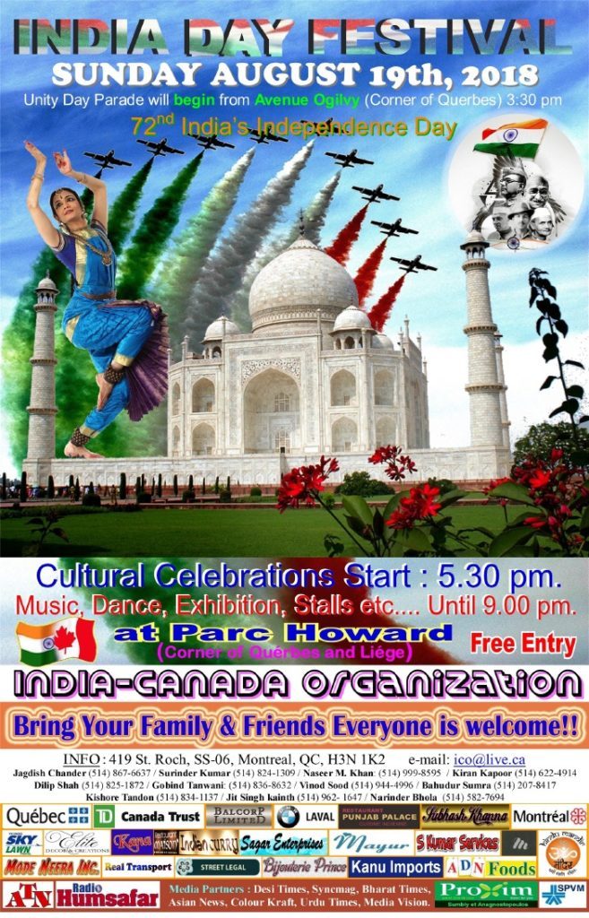 Celebrating India Day Festival 2018 in Montreal - Unity Day Parade - Happy India's 72nd Independence Day