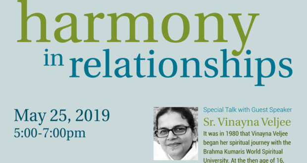 Harmony in Relationships - A Talk with Sr. Vinayna Veljee in Montreal on May 25th