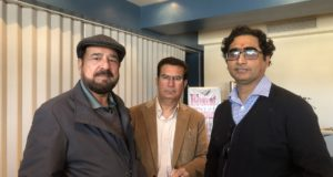Shoaib Sadiq and Naeem Talat with a friend celebrating Holi in Cornwall