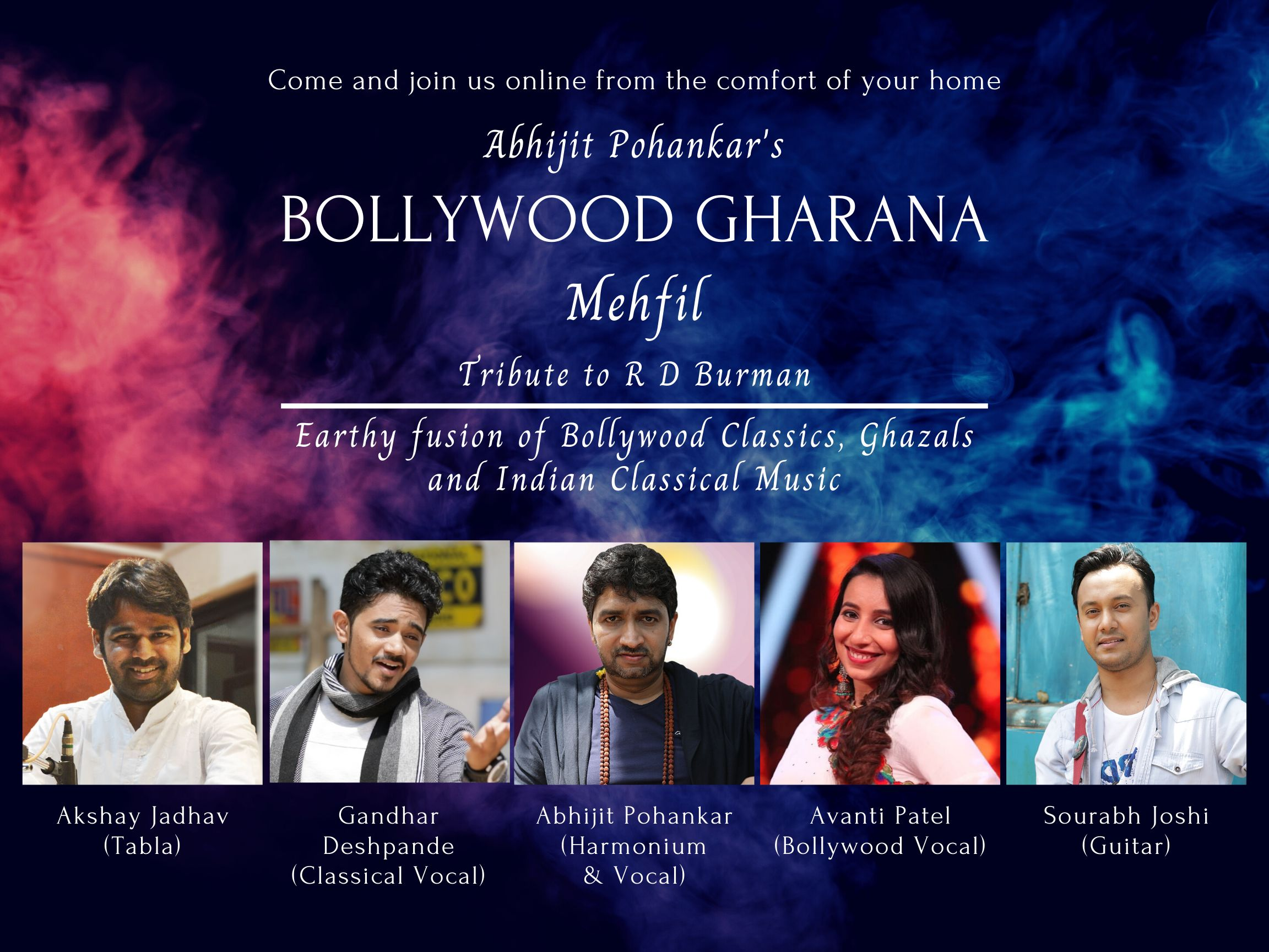 Bollywood Gharana Mehfil - Tribute to R D Burman - From the comfort of your home - Saturday, July 11, 2020 at 8pm EST