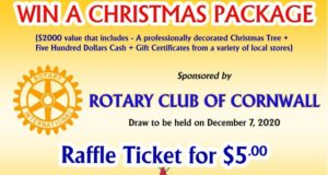 Christmas Fundraising by Rotary Club of Cornwall - Raffle Ticket of $5 only - Win professionally decorated Christmas tree, $500 in Cash & Gift cards - Total prize value of $2000