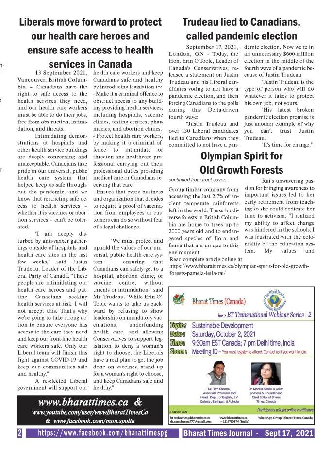 Bharat Times Journal - September 2021 - pg 2