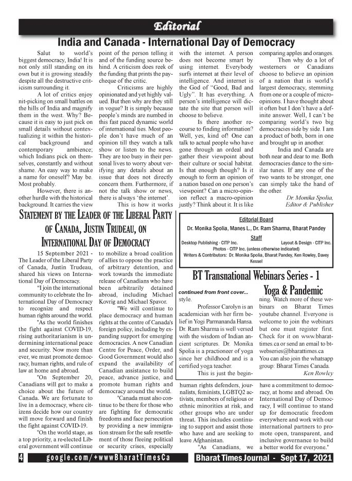 Bharat Times Journal - September 2021 - pg 4